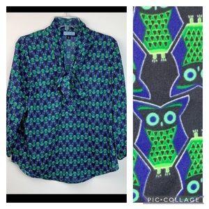 Cynthia Rowley tie neck pussy bow owl print blouse